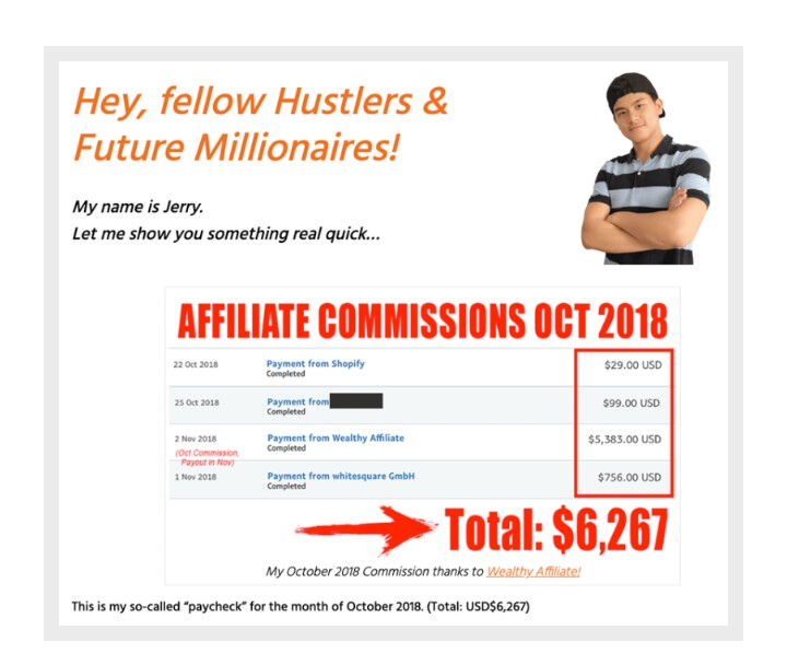 screenshot from Jerry, a member of wealthy affiliate showing his income