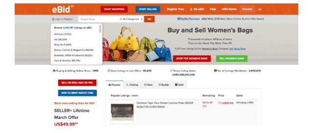 Ebid is a great marketplace to sell products on the internet