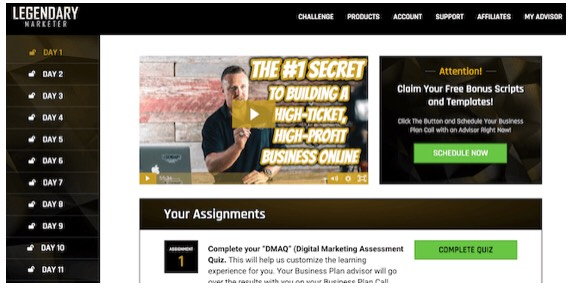 This is the famous 15 days business challenge inside the legendary marketer platform