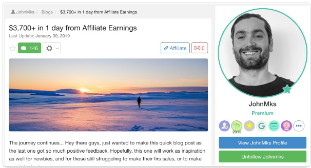 John showing how he made $3,700+ in one day from affiliate earnings
