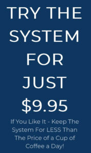 This image shows a piece of the 12 minute affiliate sales page that says try the system for just $9.95