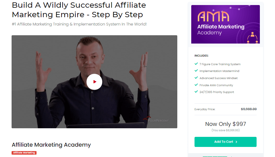 Image showing the Affiliate marketing academy course, and a video of Vick Strizheus introducing it.