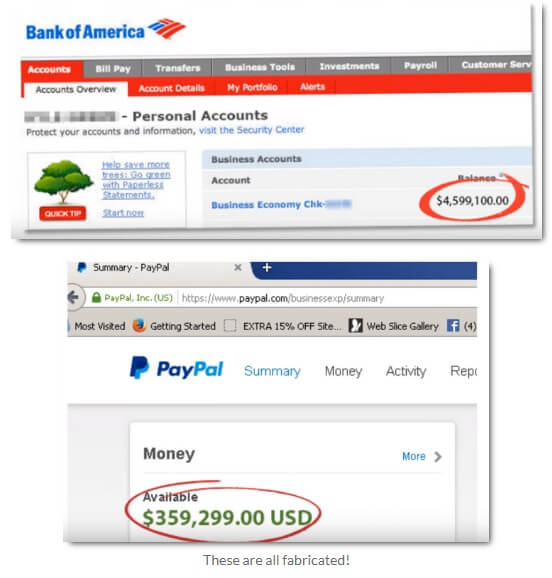 Image showing a fake income proof stating an amount of $4,599,100.00