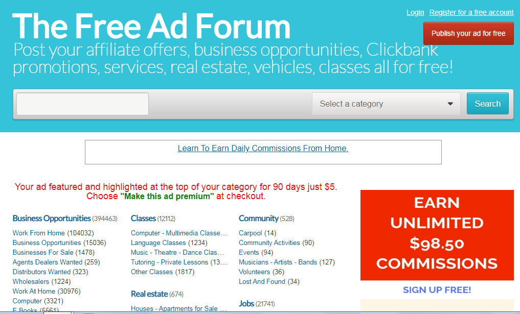 The free ad forum is a platform where you can post your ads. You can advertise here for free and this is how you can make money without spending for ads