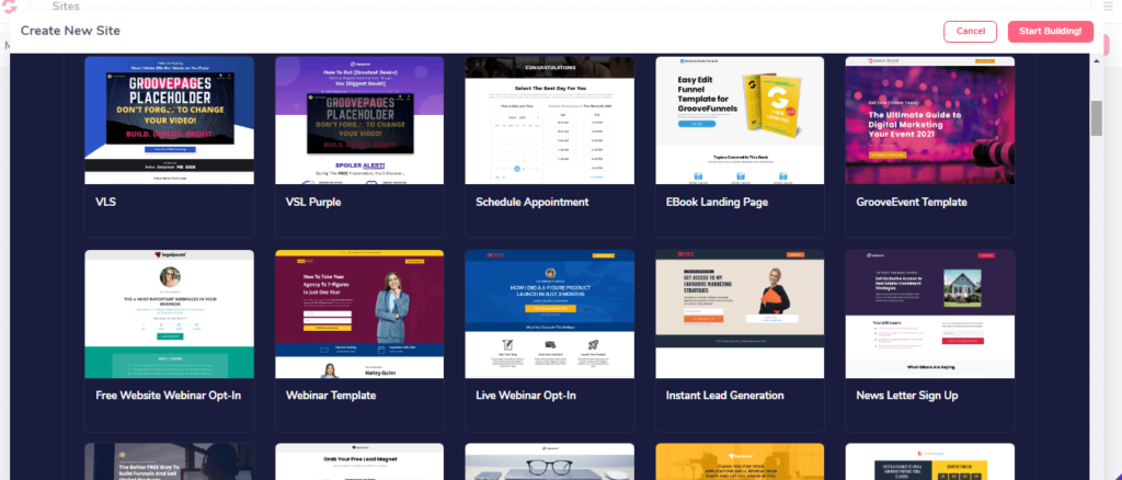 Groovefunnel landing pages