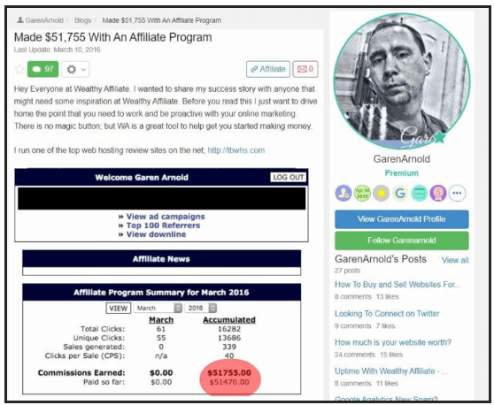Another WA member showing how he made $51,755 with an affiliate program