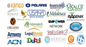 This image shows a bunch of MLM companies such as Xango, Usane, Amway, ACN, BB, and so on
