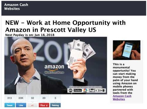 A picture of Jeff Bezos on the Amazon cash websites landing page