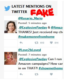 Image showing fake tweets from the Amazon cash websites page