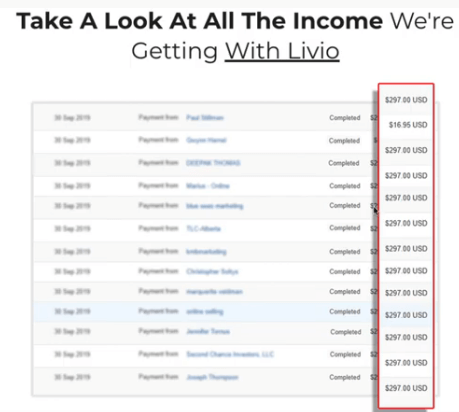 This image shows an income statement from Livio