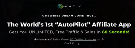 Matic headline on the sales page