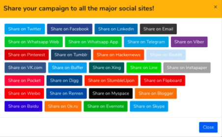 PPF list of multi color social share buttons