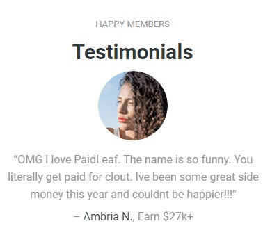 Image showing a testimonial from a woman named Ambria N