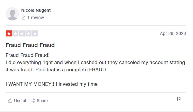 Another paidleaf review from Nicole Nugent stating that Paid Leaf is a fraud