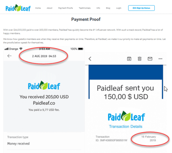 Image showing the fake payment proof inside the paidleaf software