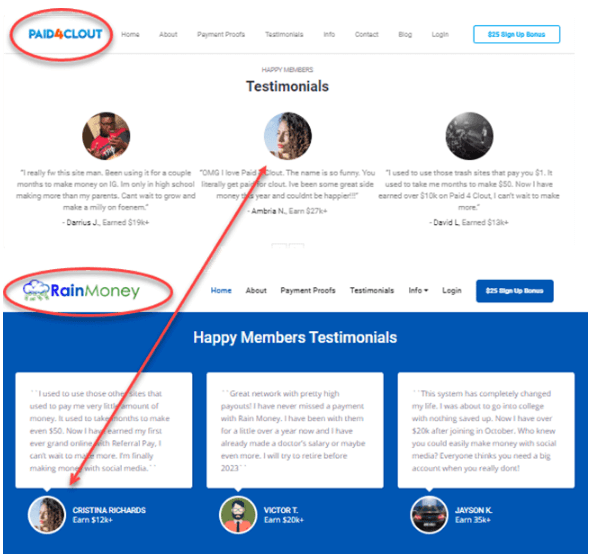 Image showing the Paid4Clout platform with three fake testimonials