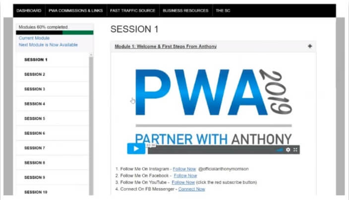 Image showing the Partner with Anthony dashboard