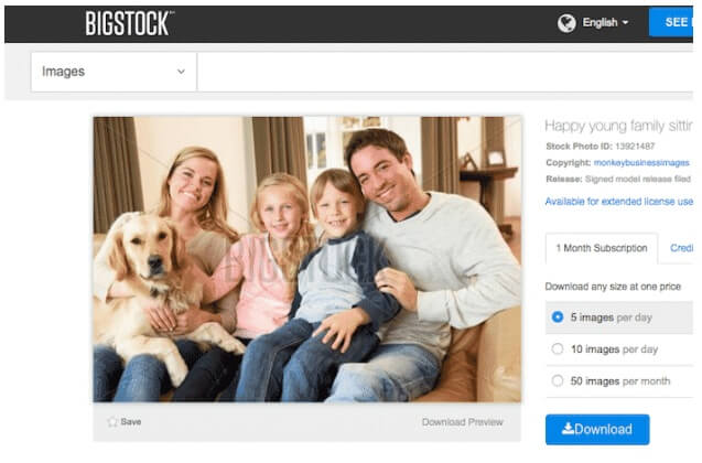 Image from Bigstock showing a man, his wife and their two kids and a dog sitting on a sofa
