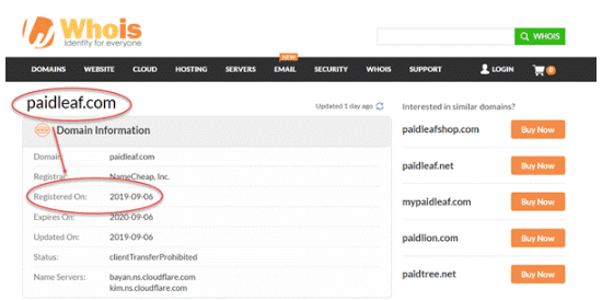 Image showing the Whois website with information about paidleaf being register in 2019-09-06