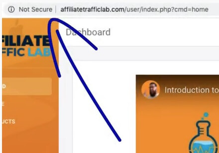 """This image shows the """"not secure"""" written on the affiliate traffic lab webpage"""