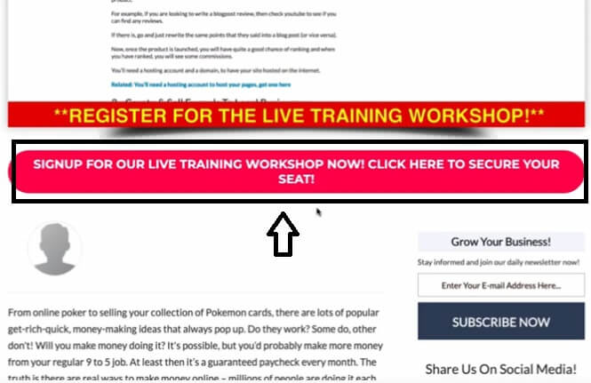 This is a Call to action button saying sigh up for our live training workshop now! Click here to secure your seat!