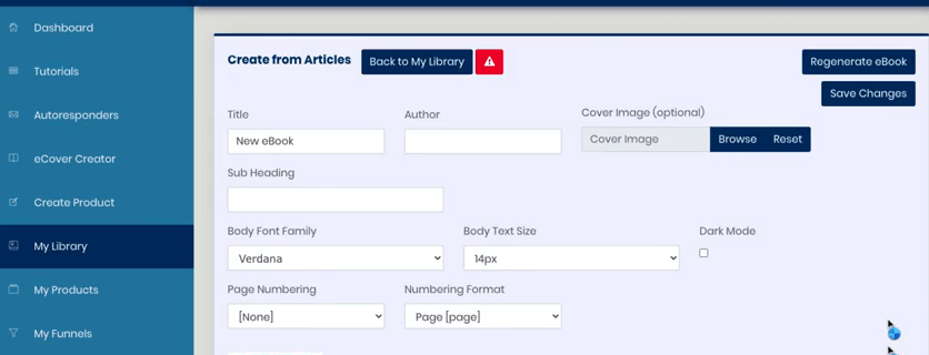 this image shows the Library section of this DFY ProfitFunnels. It shows the different components you need to create an e-book such as title, author, cover image, body font family, page numbering, and so on