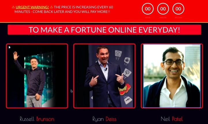 On the DFY profit funnels sales page, there are big marketers' names and pictures of Russell Brunson, Ryan Deiss, and Neil Patel