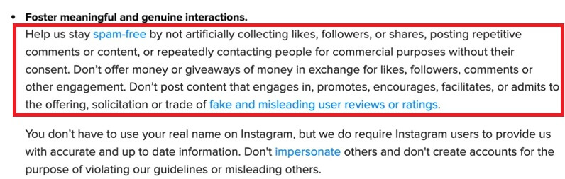 This image is a text about Instagram terms of services, stating that people should stay spam-free by not artificially collecting likes, followers, or shares...