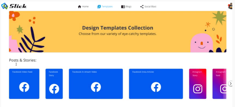 This image shows the template section of the slick software. We can see the FaceBook and Instagram Logos