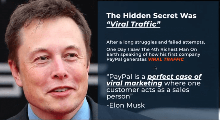 This is a picture of Elon Musk with one of his quotes stating payal is a perfect case of viral marketing where one customer acts as a sales person