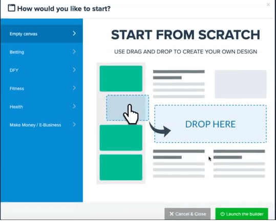 This image show the kash kow page builder section, with a headline saying start from scratch