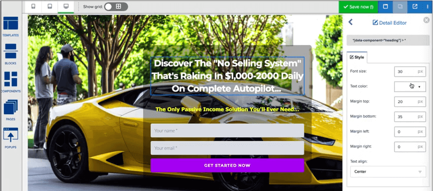 This image shows a squeeze page builder. We can see a yellow car with some text and various features to edit the page
