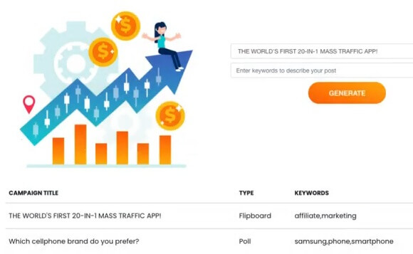 This is the traffic tools giving you the campaign title, type and keywords