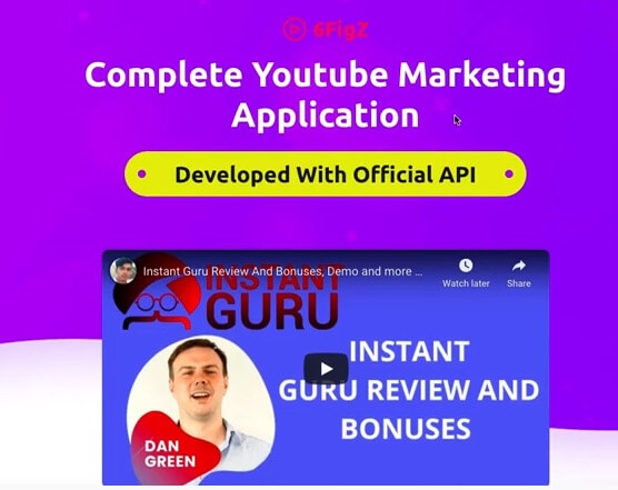 This image shows a sales page with a purple background and a YouTube video titled Instant Guru