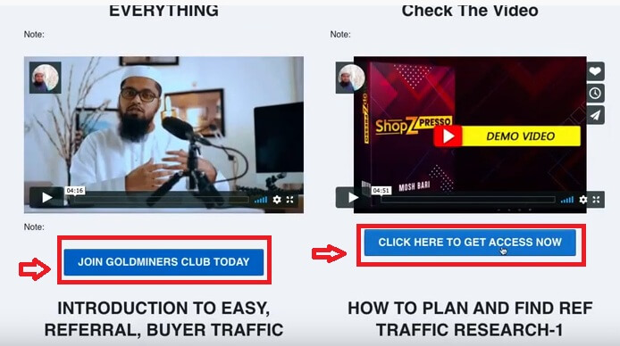 this image shows a man in a video, and two call to action buttons to purchase an upsell