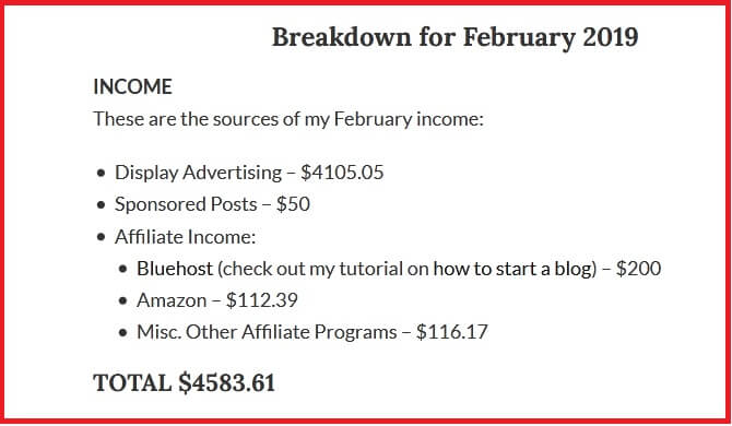 Image showing an income report of February 2019 ffom Elena Peter