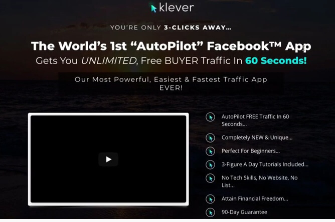 This image shows the Klever sales page describing klever as the world's 1st auto pilot FaceBook App