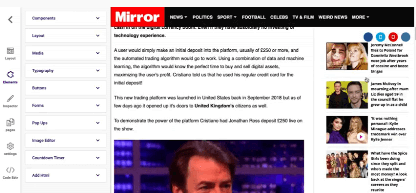 Image showing a news page titled Mirror