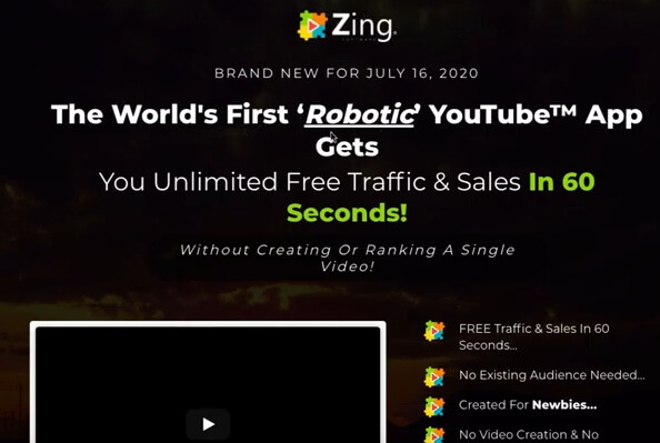 This image shows the Zing sales page headline describing Zing as the world's first robotic YouTube App