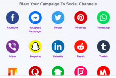 Image showing various social media logos such as FaceBook, Messenger, Twitter, Pinterest, Snapchat, etc.