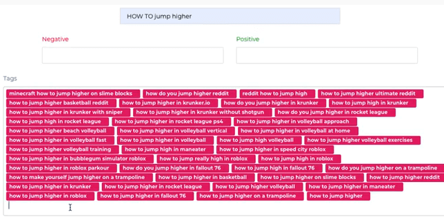 "Image showing a list of keywords related to the original keyword phrase ""how to jump higher"""