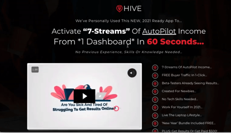 The Hive headline on the sales page stating that you can make money in 60 seconds