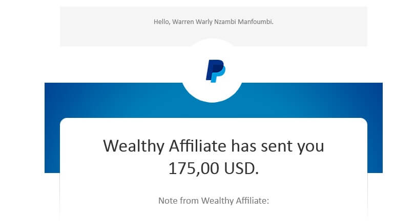 A Paypal email sent to me and showing I have received a commission of $175,00