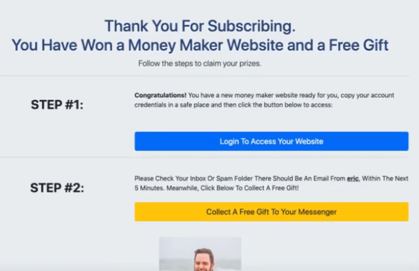 "Image showing a thank you page saying ""you've won a money maker website and a free gift"