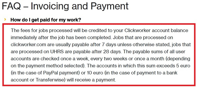 Screenshot from the click worker website showing the FAQ- invoice and payment