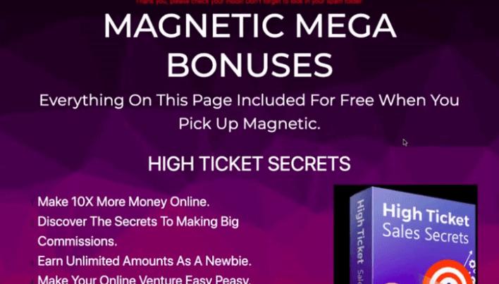 The high ticket sales secrets bonus page.