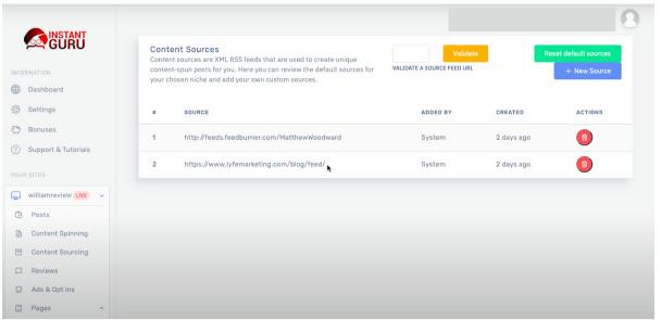 Screenshot showing the instant guru dashboard