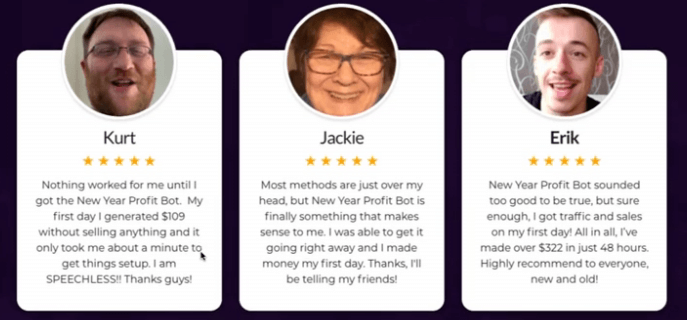 Image showing three fake testimonials from the New Year Profit Bot sales page