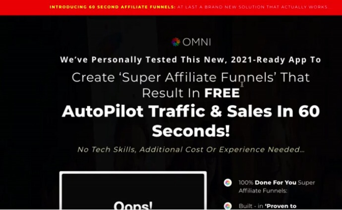 Image showing the omni sales page headline mentioning about the free traffic and sales in 60 seconds