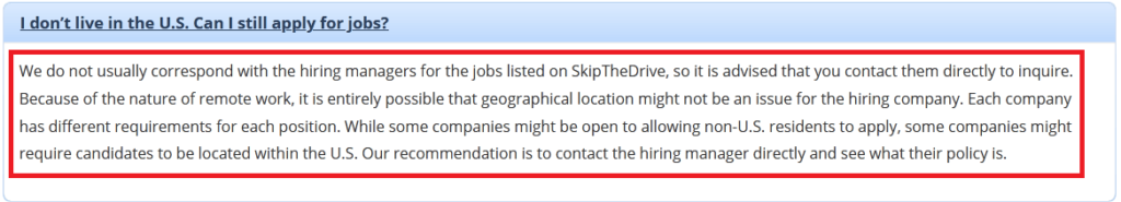A FAQ in Skip The Drive stating that the website can be available worldwide